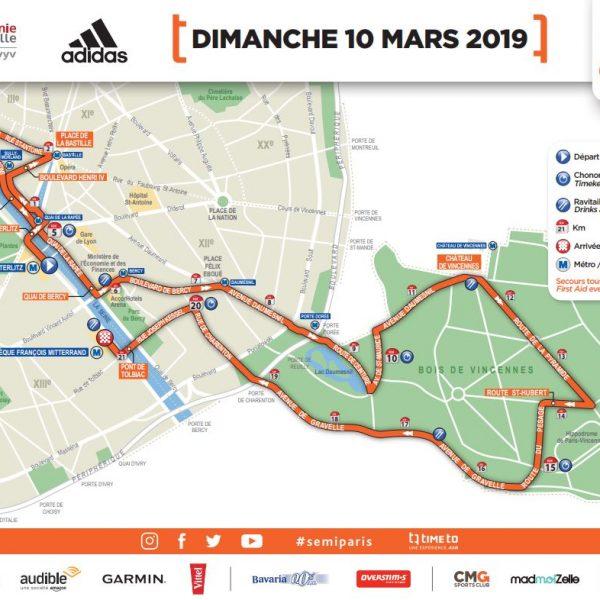 Parcours semi-marathon de Paris