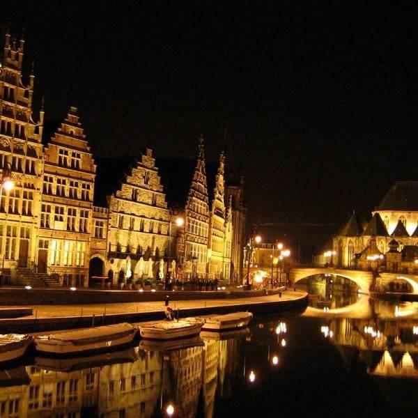 Town of Gent Belgium at Night